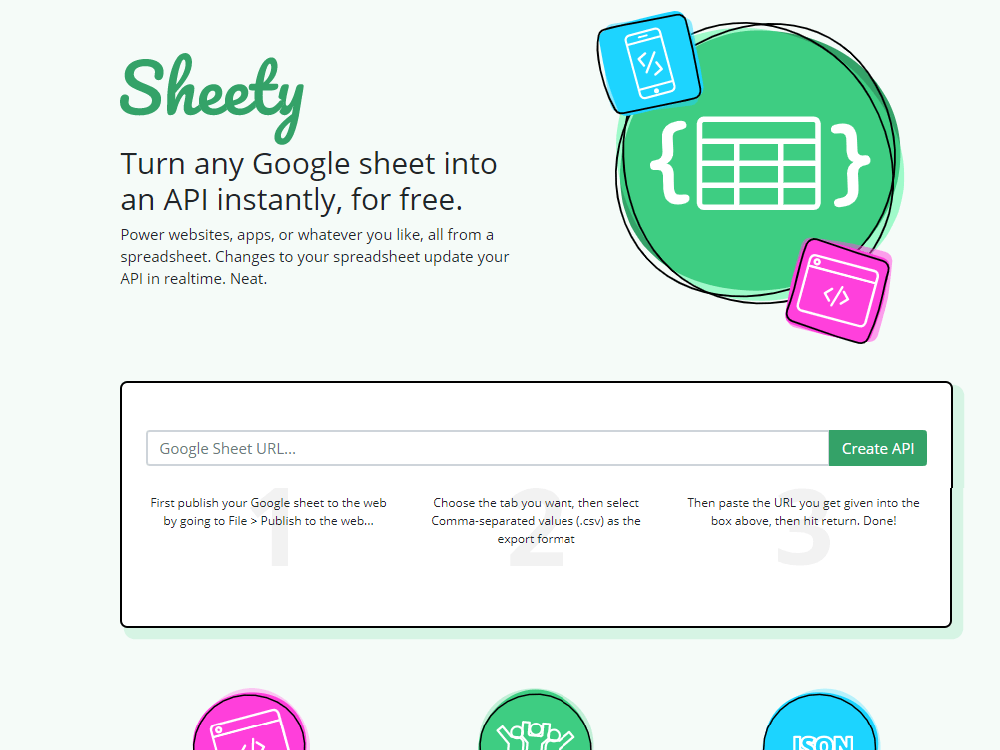 Sheety: A free tool converting your Google tables to API