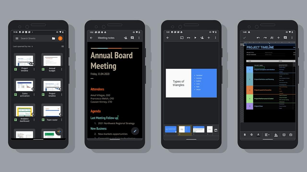 Google Dokümanlar, E-Tablolar ve Slaytlar'a Android için karanlık tema desteği gedi